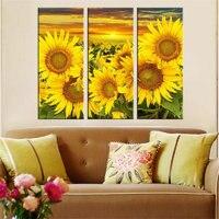 New Diamond Cross Stitch Sunflower Full Square 5d Diy Diamond Painting Set Of 3 Living Room