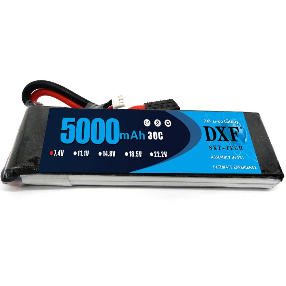 DXF <font><b>Lipo</b></font> Battery <font><b>2S</b></font> <font><b>5000mAh</b></font> 7.4V 30C <font><b>Lipo</b></font> Battery PackBattery for 1/10 Car 1/8 RC Car for TRX Slash Emaxx Bandit image