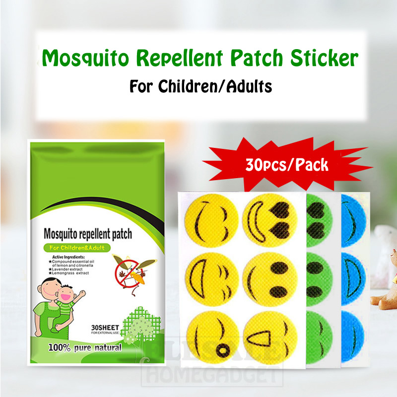 30pcs/Pack Cute Mosquito Repellent Sticker Patch Plant Essential Oil Smile Kids/Adult Home Outdoor Anti-Mosquito Sticker Killer