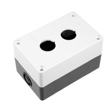 купить UXCELL Push Button Switch Control Station Box Switches 22mm 2 Button Hole Waterproof Plastic Black And White To Student Projects дешево