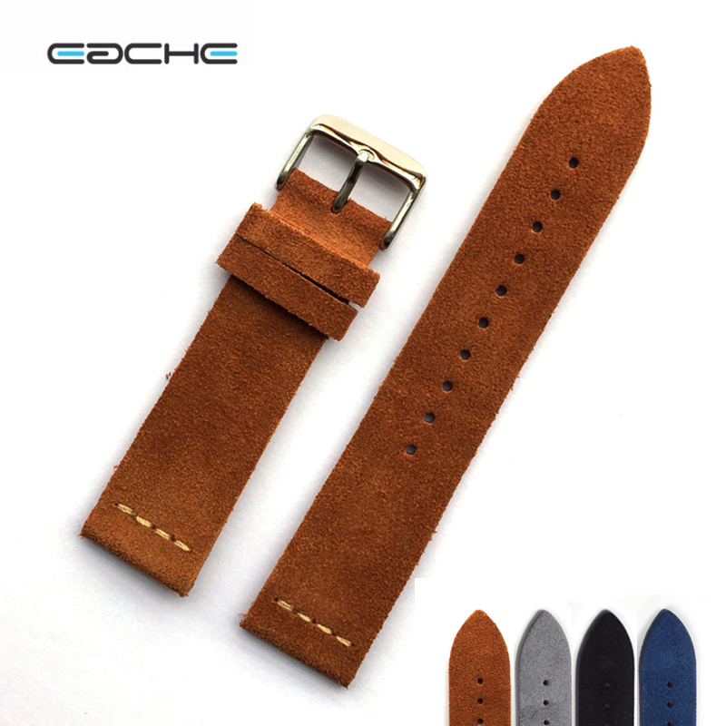 EACHE Suede Design Special Classical Genuine Leather Watchband Light Brown Dark Brown Size 20mm 22mm