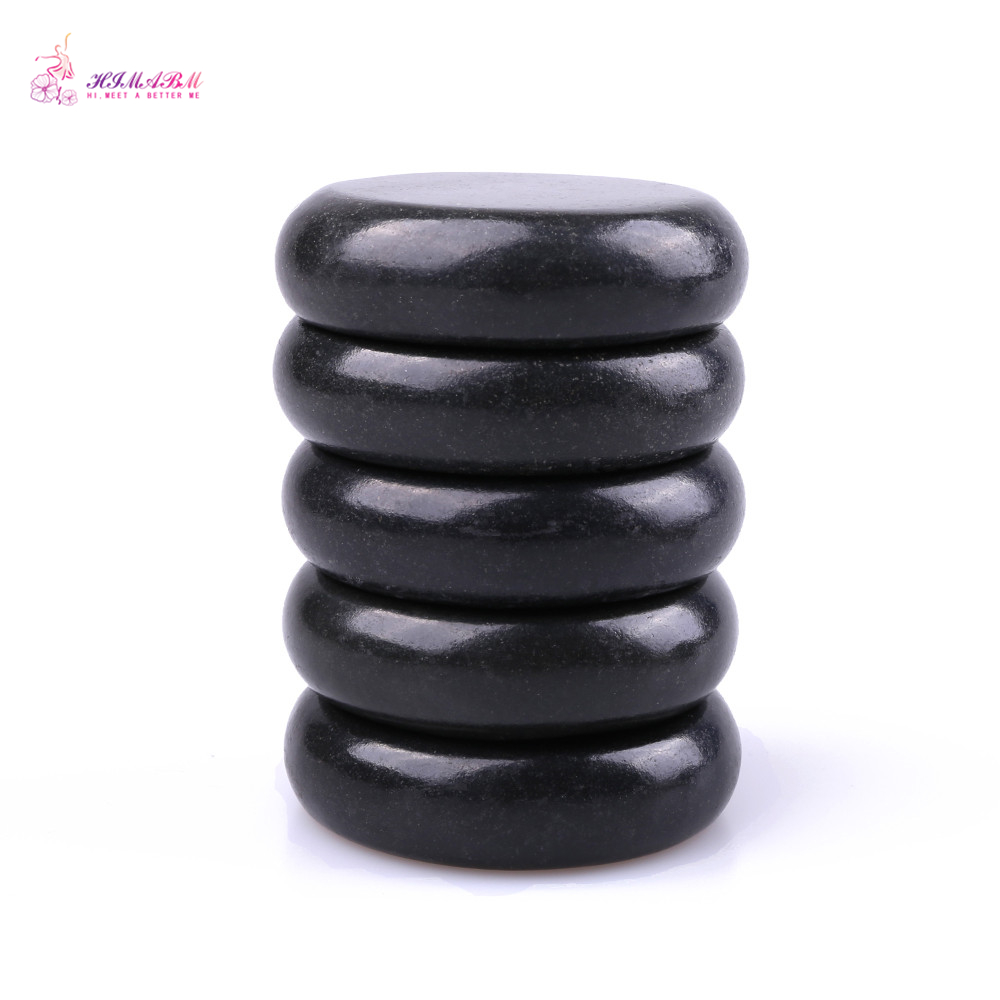 HIMABM 5 kosov 6 * 6cm naravni črni bazalt Hot Spa Stone Masaža Lava Rocks