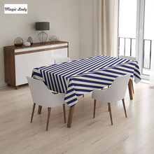 Living Room Table Cloth Triangles Parallel Striped Lined Design Background Geometrical Art Navy Blue 145x120 cm / 145x180 cm