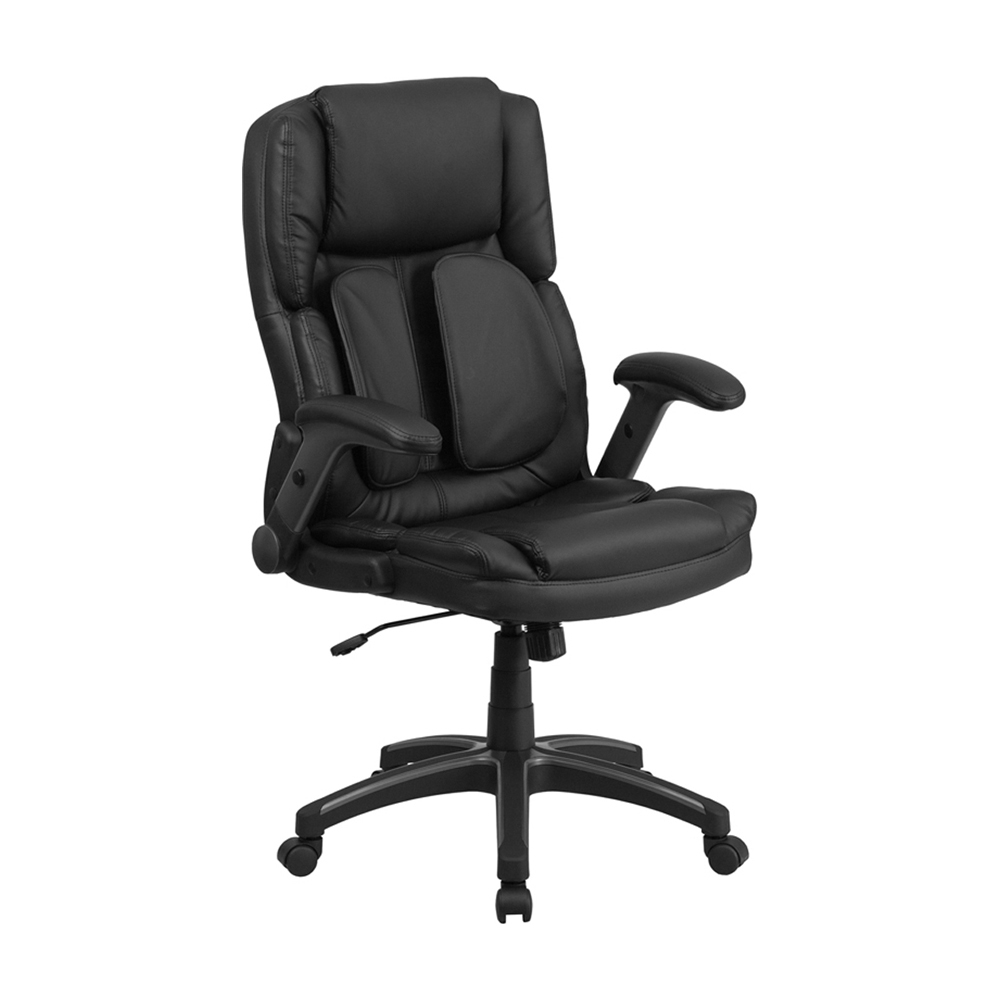 все цены на Flash Furniture Extreme Comfort High Back Black Leather Executive Swivel Office Chair with Flip-Up Arms [863-BT-90275H-GG] онлайн