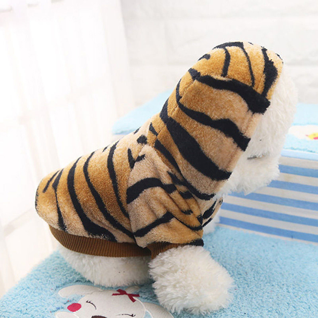 TINGHAO Pet Coat Dog Jacket Puppy Tiger Stripes Hoodie Shirt Winter Clothing Apparel