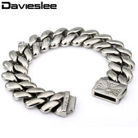 Davieslee Mens Bracelet 316L Stainless Steel Chain Silver Tone Close Curb Link High Quality Punk Wholesale Jewelry 20mm LHB06