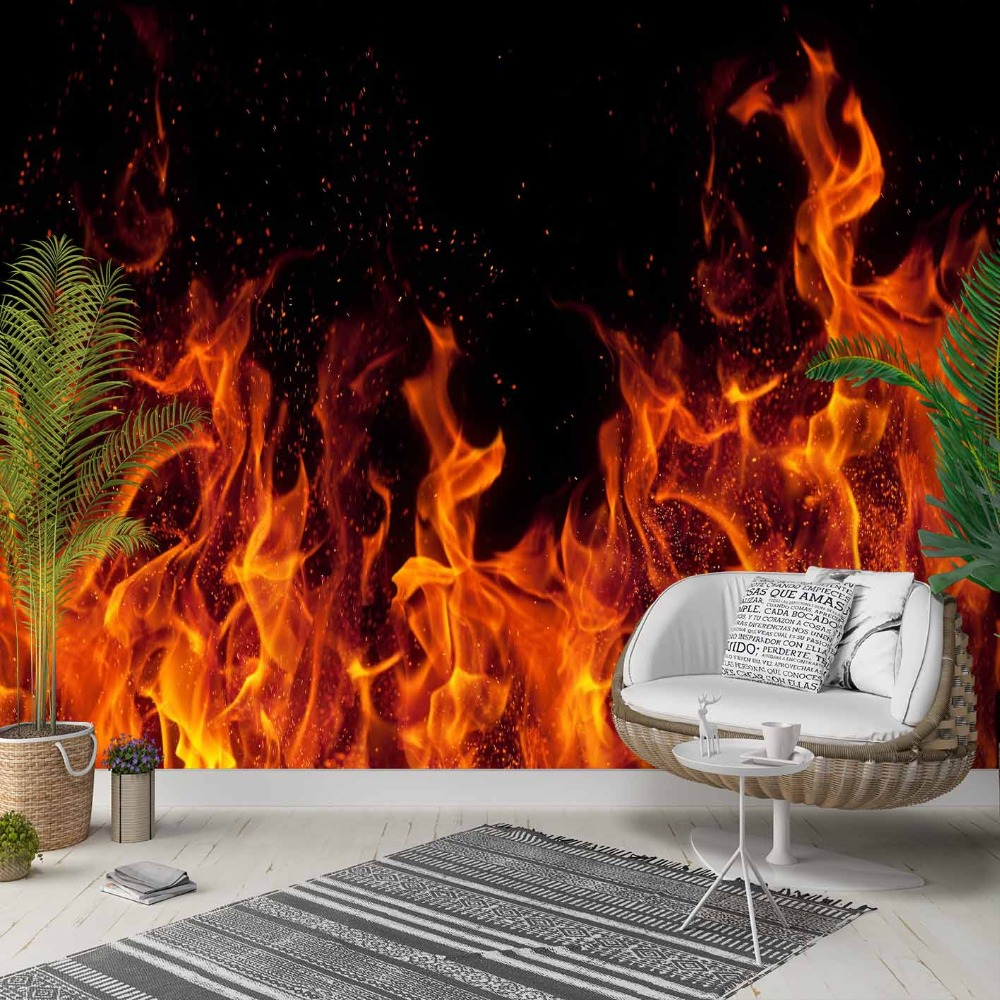 Else Black Floor Yellow Red Fire Flames 3d Photo Cleanable Fabric Mural Home Decor Living Room Bedroom Background Wallpaper