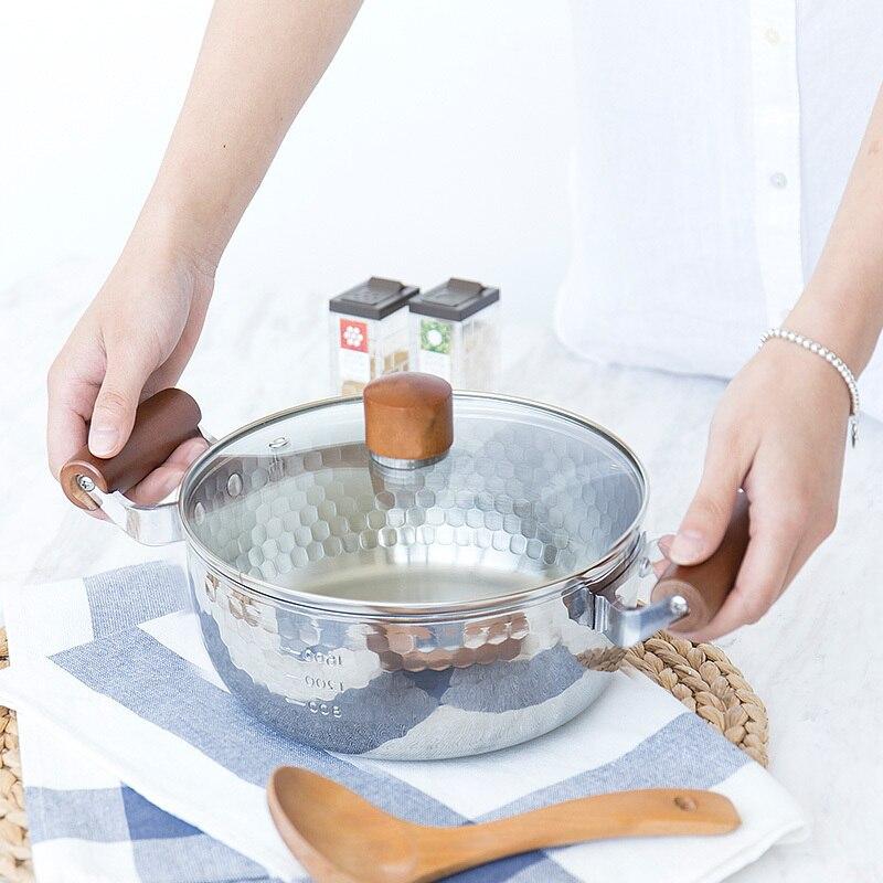 Style japonais en acier inoxydable poêle à neige en acier inoxydable nouilles de lait bébé nourriture santé ragoût pot en bois poignée chaude marmite cuisinière