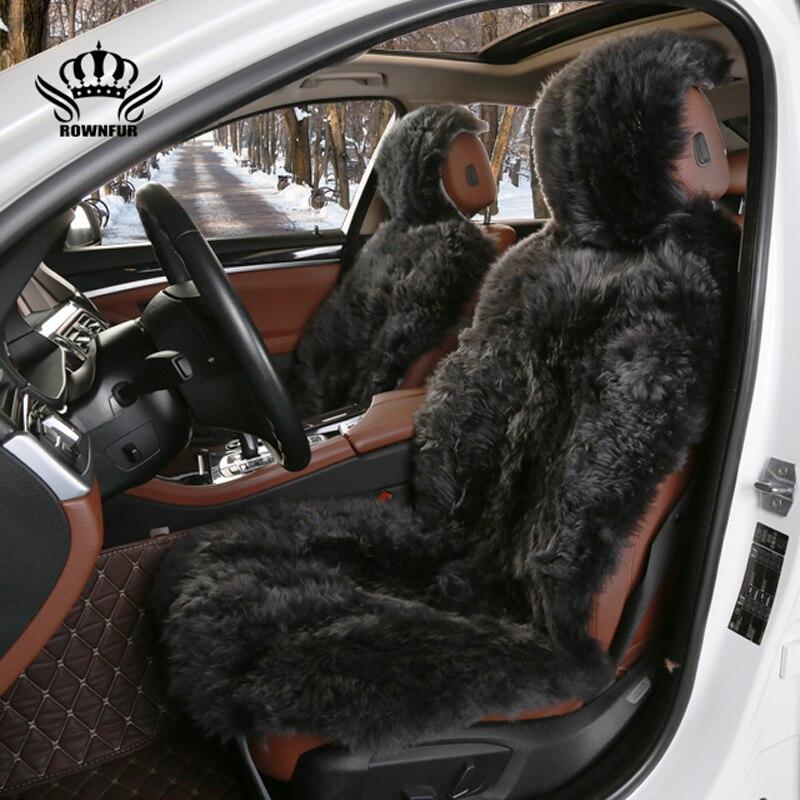 Длинные волосы спереди 2 шт. чехол для автомобиля натуральный мех овчины сиденья универсальный размер для всех типов сидений для автомобиля...