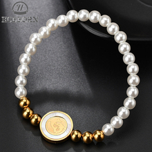 HOBBORN Fashion Stainless Steel Beads Jewelry Dolphin Shell Simulated Pearl Beaded Bracelets Women New Friendship Charm Bracelet
