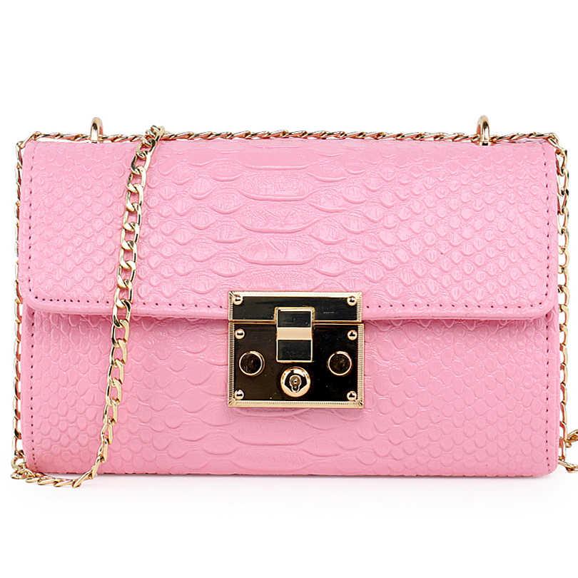 fbec6306333c1 ... luxury handbags women bags designer black white Crocodile flap bag  small clutch gold chain girls crossbody