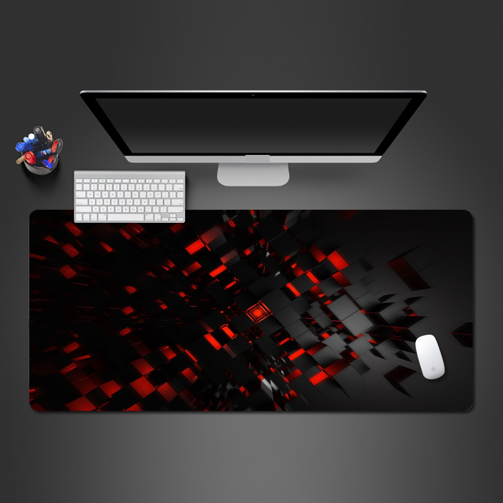 Mouse pad Mouse Pad Personality Black and Red 3D Pattern Gaming Locking Edge Mouse Pad Large Computer Mousepad Desk Mat Computer mat