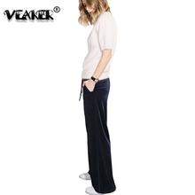 2018 Fashion Womens Velvet Trousers Sweatpants Black Blue Red Female Wide Leg Pants High Waist Loose