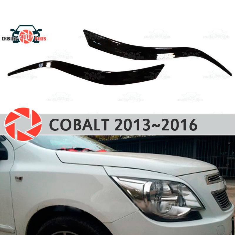 Eyebrows for Chevrolet Cobalt 2013~2016 for headlights cilia eyelash plastic moldings decoration trim covers car styling car seat cover covers auto for