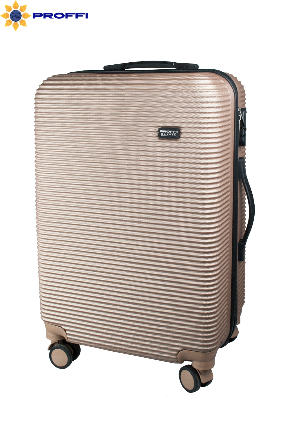 Plastic suitcase PROFFI TRAVEL PH8859beige, beige, M, with built-in scales, on wheels