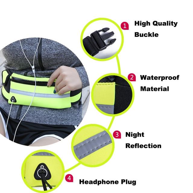 NEWBOLER Running Waist Bag Waterproof Sport Fanny Packs Phone Holder Fitness Cycling Belt Bag For Men Women Pink GYM Accessories 4
