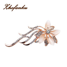 Wedding Bridal Fashionable Brooches Noble Opal Crystal Flower Brooch Pin Garment Accessories Jewelry