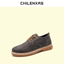 CHILENXAS осень зима классические обувь из натуральной кожи мужчины повседневная мода стадо ботильоны на шнуровке дышащий удобные твердые