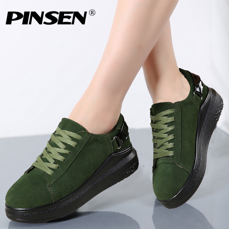 PINSEN 2019 Autumn Women Flats Women   Leather     Suede   Lace up Platform Sneakers Thick Heel Casual Boat Shoes Ladies Oxfords Shoes