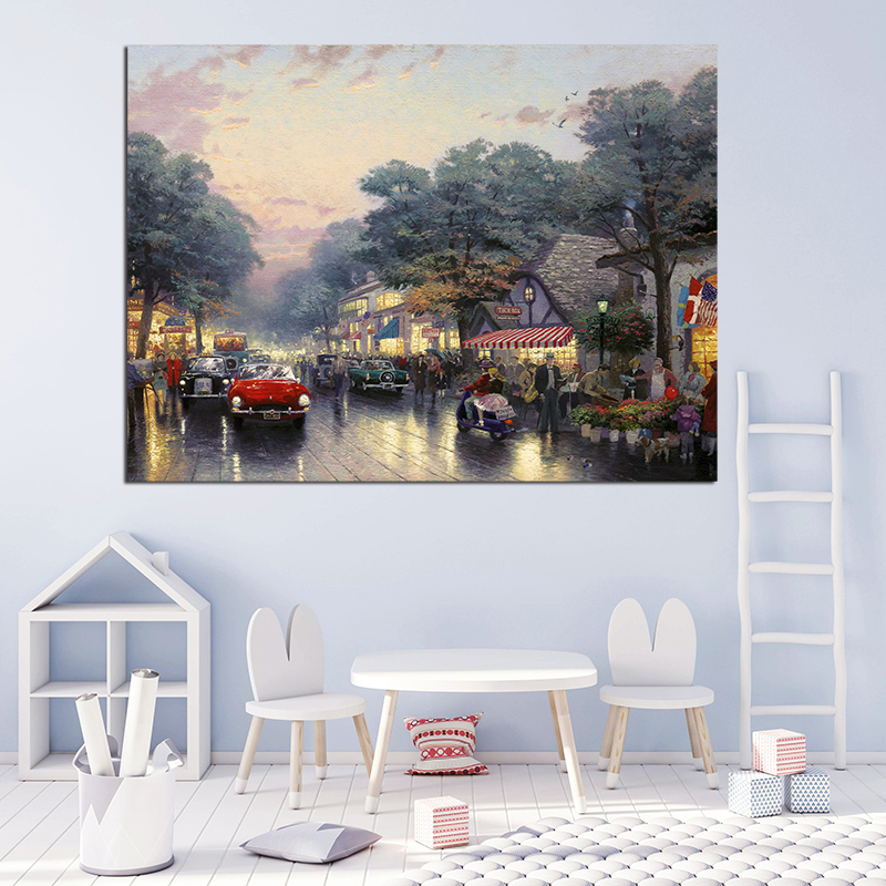 Thomas Kinkade The Garden In Carmel Avenue Canvas Painting Oil Print Poster Wall Art HD Picture For Living Room Home Decor
