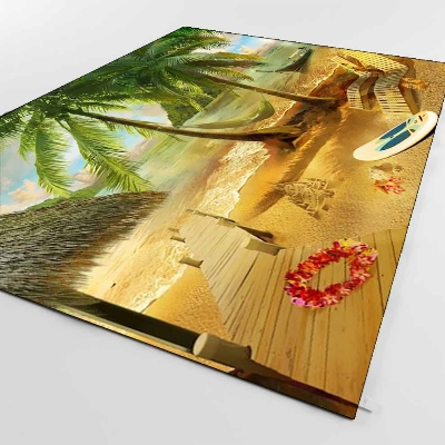 Else Tropical Brown Beach Sand Palm Trees 3d Print Non Slip Microfiber Living Room Decorative Modern Washable Area Rug Mat