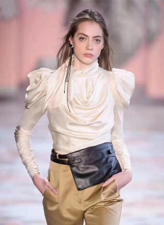 Couleur nue mode Blouse devant cravate col chemise Vintage élégant à manches longues Blouses femmes vêtements de travail moderne dame haut d'automne RXD-07