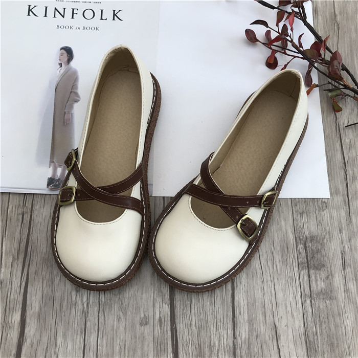 Japanese casual big shoes Korean version of the art and women s women s single shoes
