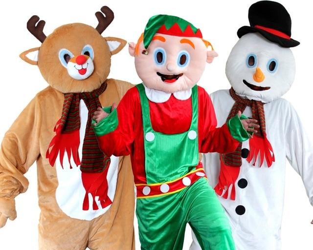 Рождественский костюм для взрослых маскот, олень, эльф, снеговик, нарядное платье с большой головой