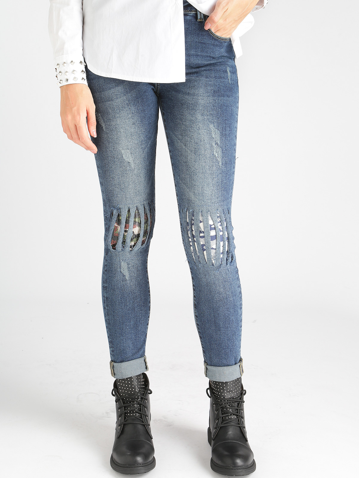Jeans With Sequins Slim Fit