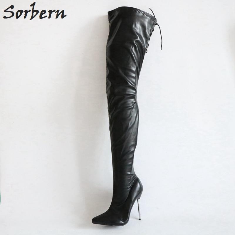 Sorbern Matt Stilettos Metal Heels 12Cm Boots Women Black Over The Knee Boots Women Shoes Size 44 Custom Plus Size Leg Boots