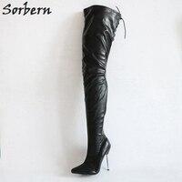 Sorbern Matt шпильке Металлические каблуки 12 см сапоги Для женщин Ботфорты выше колена черного цвета женская обувь Размеры 44 на заказ; большие ра