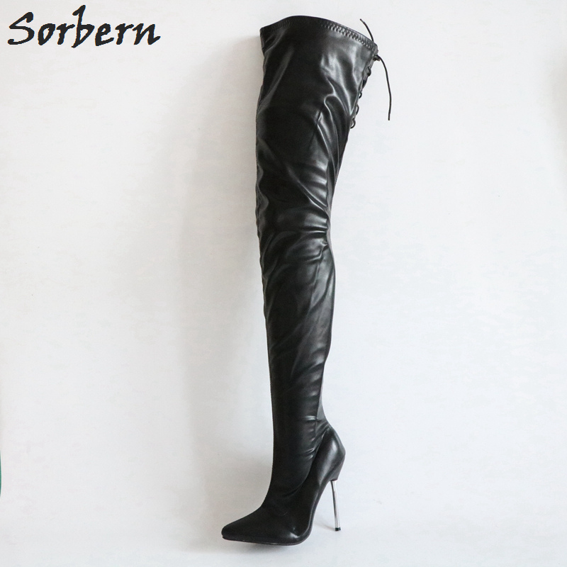 Sorbern Matt Stilettos Metal Heels 12Cm Boots Women Black Over The Knee Boots Women Shoes Size 44 Custom Plus Size Leg Boots sorbern matt stilettos metal heels 12cm boots women black over the knee boots women shoes size 44 custom plus size leg boots