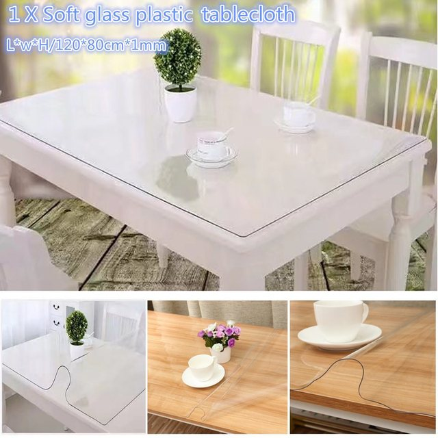 Nice PVC Waterproof Soft Glass PlasticTablecloth Transparent Table Cloth Mat  Table Runner Kitchen Dining Table Decoration 120