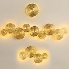 מודרני LED פמוט קיר אור נחושת חלול לוטוס עלה קיר מנורות חדר שינה מטבח מדרגות בית גופי תעשייתי דקור Luminaire