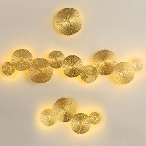 Image 1 - Modern LED Wall Sconce Light Copper hollow lotus leaf wall lamps Bedroom Kitchen Stair Home Fixtures Industrial Decor Luminaire