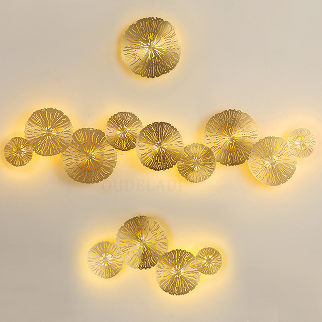 Modern LED Wall Sconce Light Copper hollow lotus leaf wall lamps Bedroom Kitchen Stair Home Fixtures Industrial Decor Luminaire