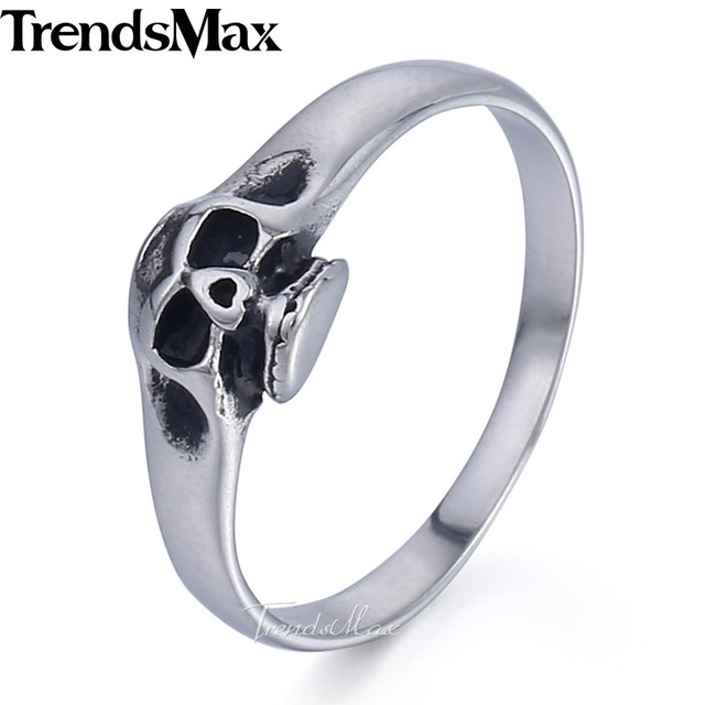 Thin Skull Ring for Women Girls Boys Silver Color 316L Stainless Steel Band Ring Halloween Accessories Wholesale Jewelry HR421