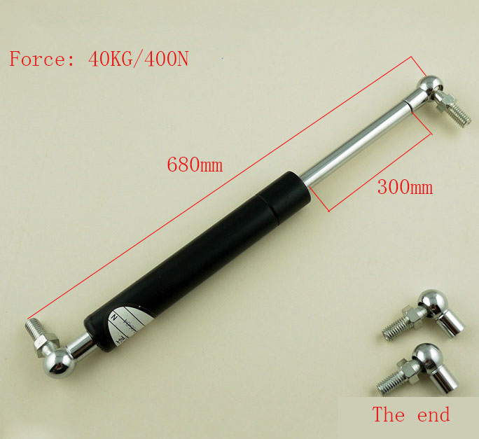 680mm Central Distance M8 40KG/88lb Force 300mm Stroke Auto Gas Spring Damper Ball End Lift Support Gas Spring Lift