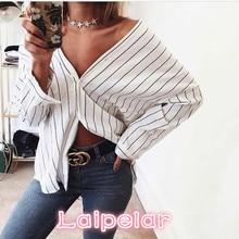 2018 new Summer Women Fashion Stripes Beach Casual Blouses Retro Bat Sleeve V-neck Loose Office Work Wear Shirts Tops