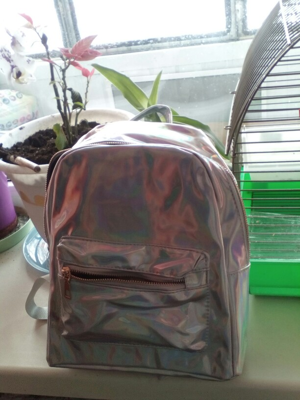 2019 Backpack New Women Backpack Mini Travel Bags Silver Laser Backpack Women Girls Shoulder Bag PU Leather Holographic Backpack photo review