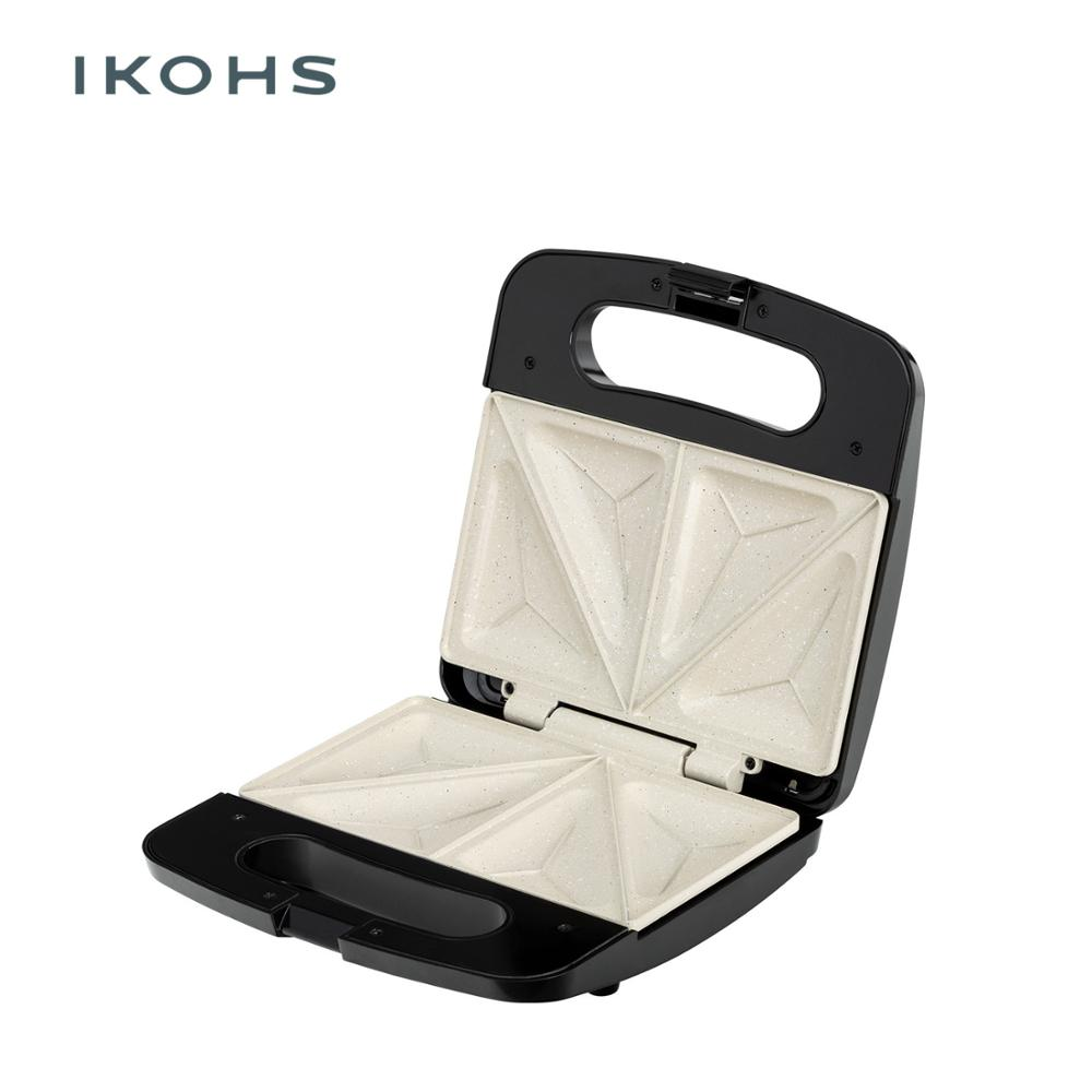 IKOHS Toast Sandwich Maker Electric Triangular Shape 750W Adjustable Thermostat  Easy Base Cleaning  Snacks