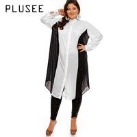 Plusee 2017 ניו סתיו האופנה ארוכה שיפון חולצות חולצה סטנד צווארון שרוול ארוך טלאי חולצה שקופה רופפת בתוספת גודל