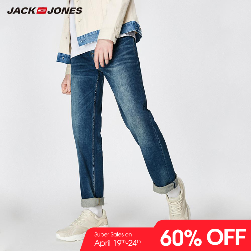 JackJones 2019 Spring New Men's Elastic Cotton Stretch   Jeans   Pants Loose Fit Denim Trousers Men's Brand Fashion Wear 219132584