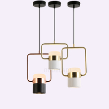 Nordic modern wrought iron acrylic Pendant Lights simple rotatable living room study dining room bedroom bedside LED hang lamp