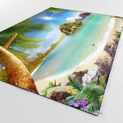 Else Tropical Palm Tree Beach Sea Side Nature 3d Print Non Slip Microfiber Living Room Decorative Modern Washable Area Rug Mat