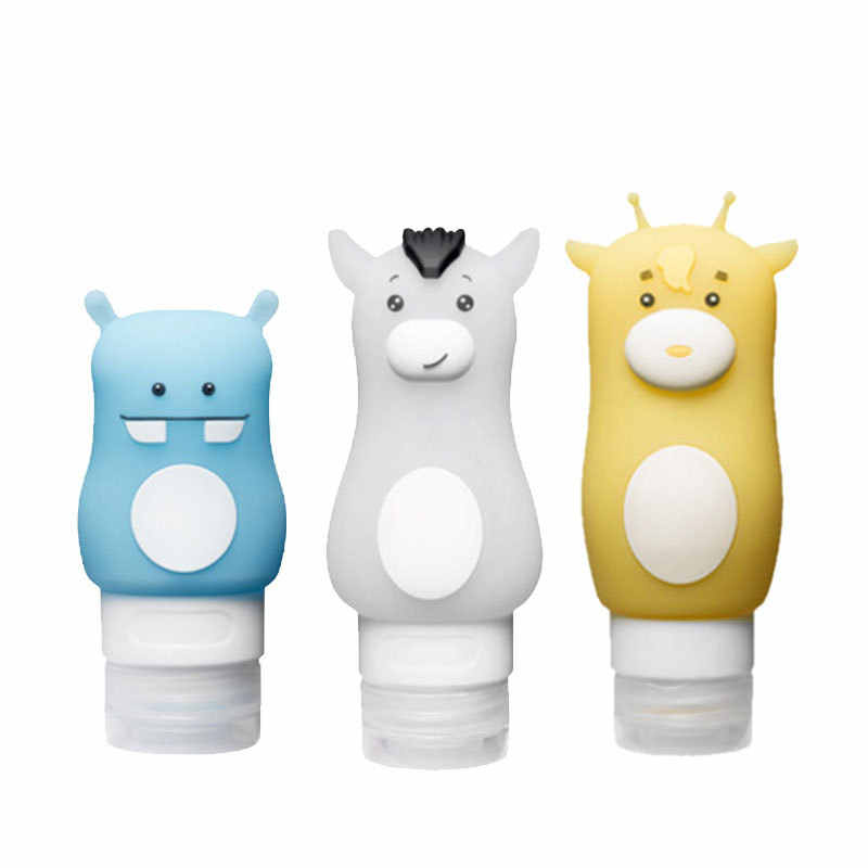 Y&W&F 1pc Cartoon Animal Cute Emulsion Dispensing Bottle Silicone Portable Cosmetics Shampoo Container Beauty Travel Bottles