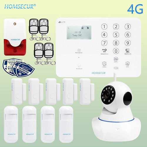HOMSECUR Wireless/&wired 4G//GSM Burglar Intruder Alarm System+Wireless IP Camera