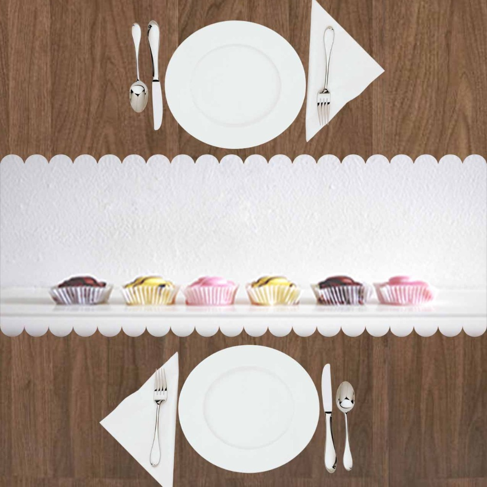 Else Gray Floor Pink Yellow Brown Cup Cakes Sweet Candy 3d Print Pattern Modern Table Runner For Kitchen Dining Room Tablecloth