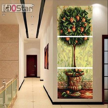 Oil Painting NEW Joint Canvas Household Pictures Gift auspicious and wishuful tree Paint By Number Office Wall 3Pcs/Set(China)