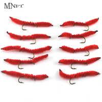MNFT 50 teile/schachtel Großhandel 10 # Juan Würmer Fliegen Angeln Lachs Forelle Köder rot Nymphen